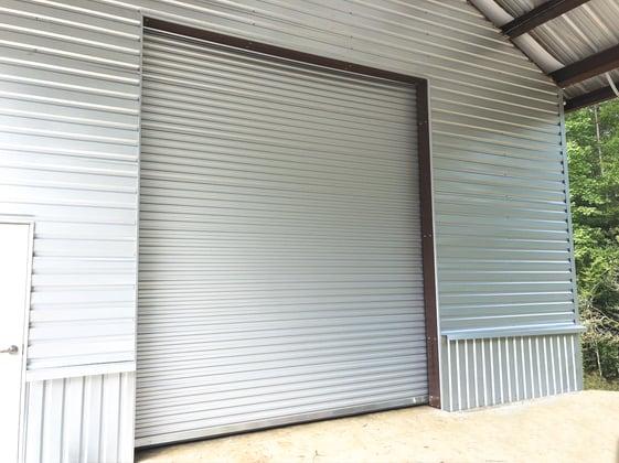 Roll up door on metal garage