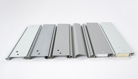 6 slat profiles displaying color, shape, and insulation